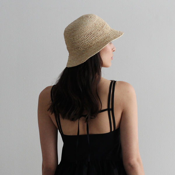 Short Brim Raffia Bucket Hat