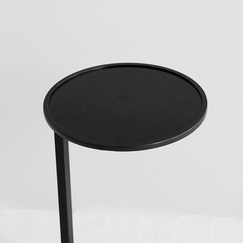 Aged Iron Circle Couch Side Table - Black