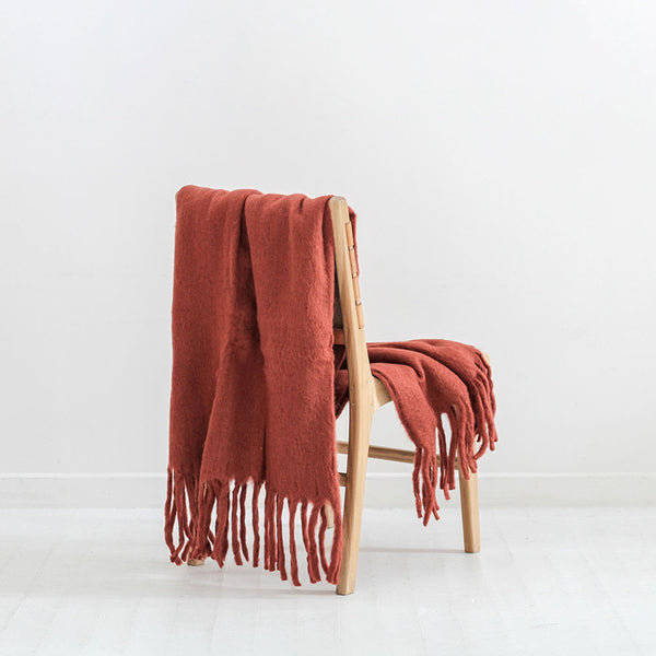 Solid Fringed Throw - Rust