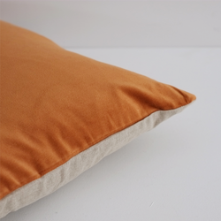 Sovereign Velvet & Linen Cushion - Nutmeg