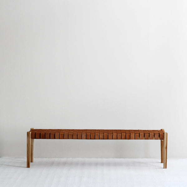 Spencer Leather Bench - Tan
