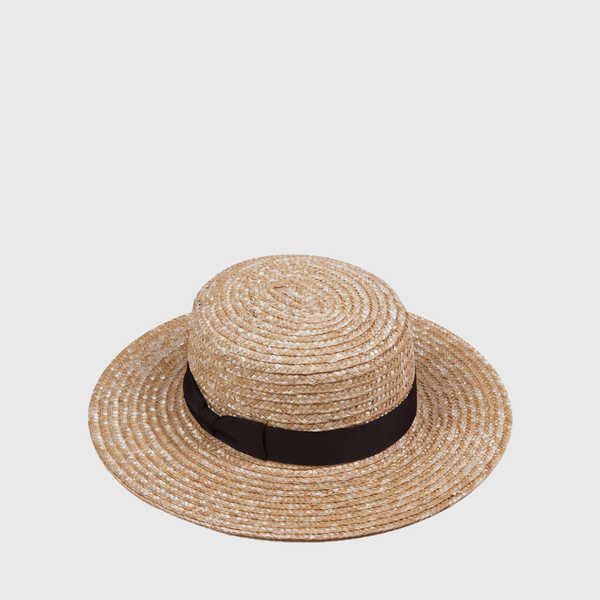 The Spencer Boater Hat - Natural & Black