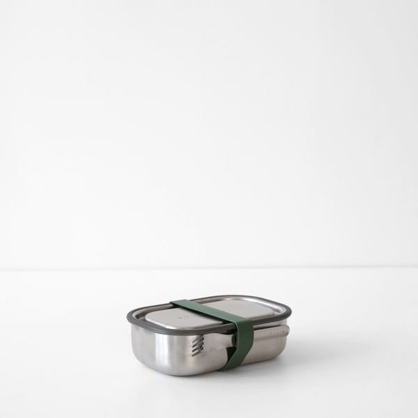 Stainless Steel Lunch Box with Olive Strap