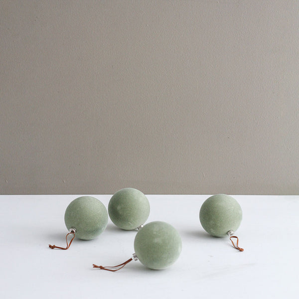 Suede Bauble Decoration 8cm - Green Set of 4