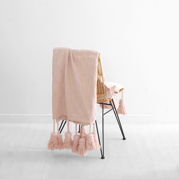 Peach Blush Tassel Throw