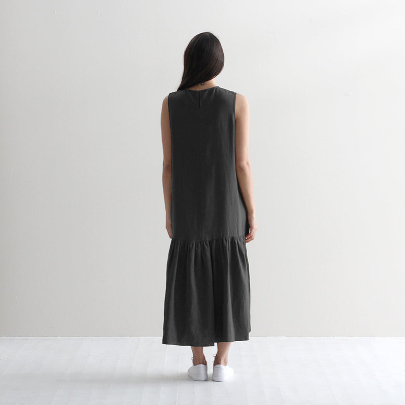 Linen Tiered Tayla Dress - Black