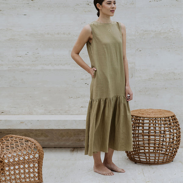 Linen Tiered Tayla Dress - Khaki