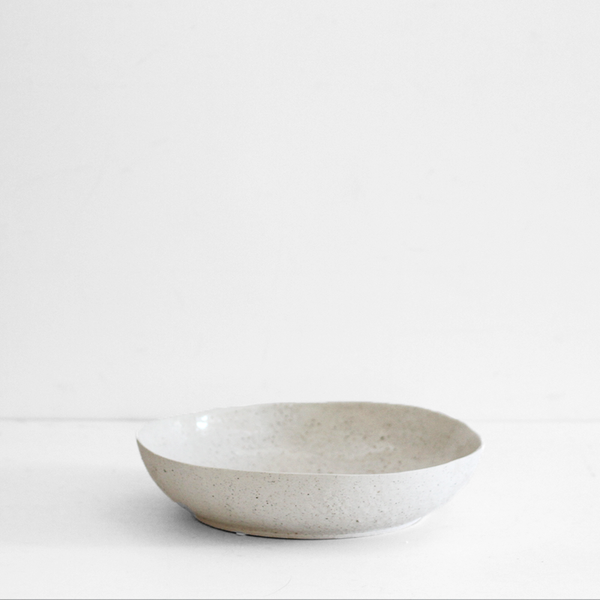 Textured Ceramic Flat Bowl - Large