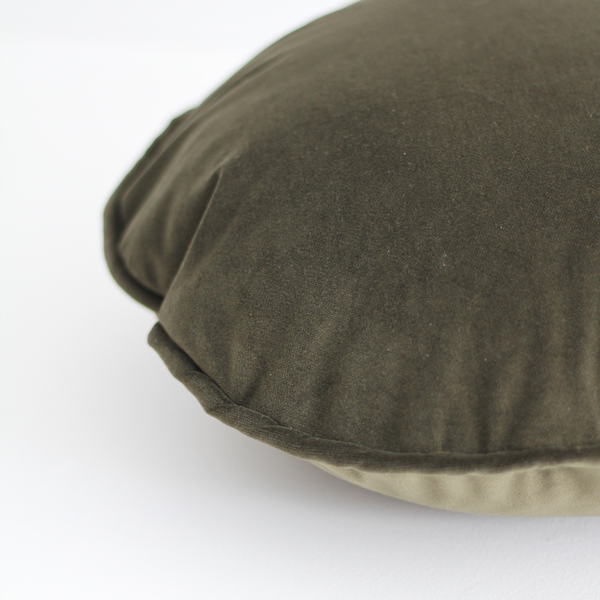A&C Velvet Round Cushion - Army