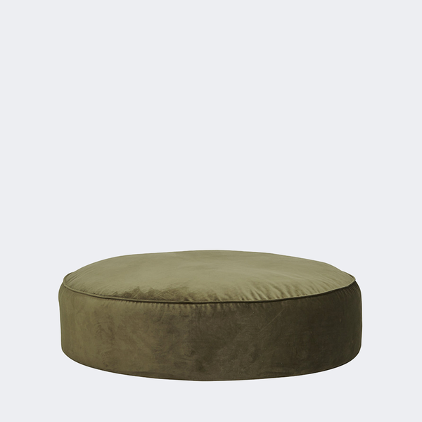 Vittoria Retreat Round Ottoman - Army Velvet