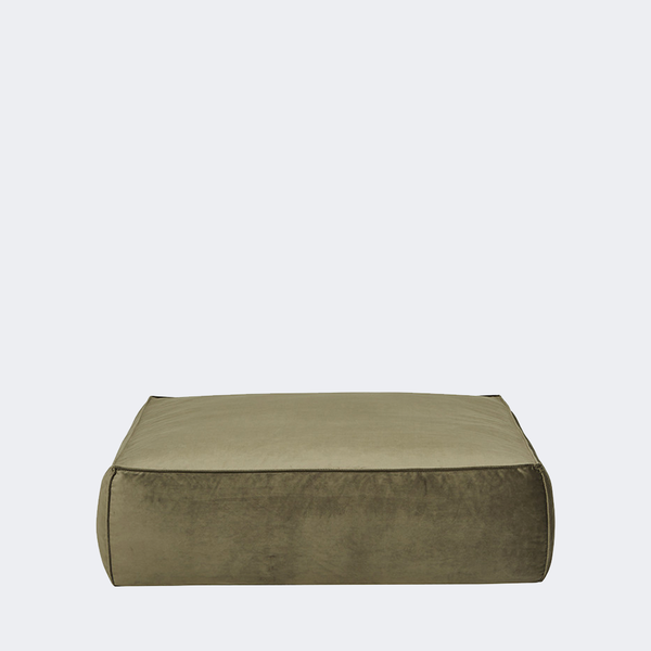 Vittoria Retreat Square Ottoman - Army Velvet