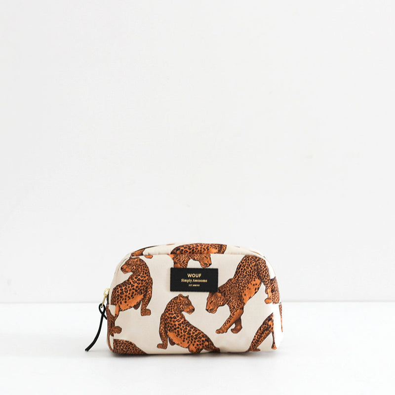 Wouf Cream Leopard Big Beauty Bag