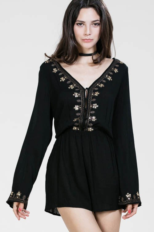 Embroidered Romper