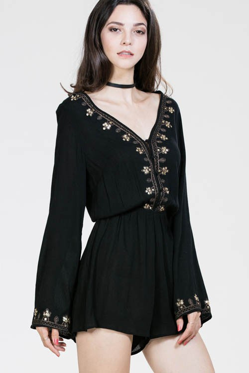 Embroidered Romper - Stella Clothing Boutique