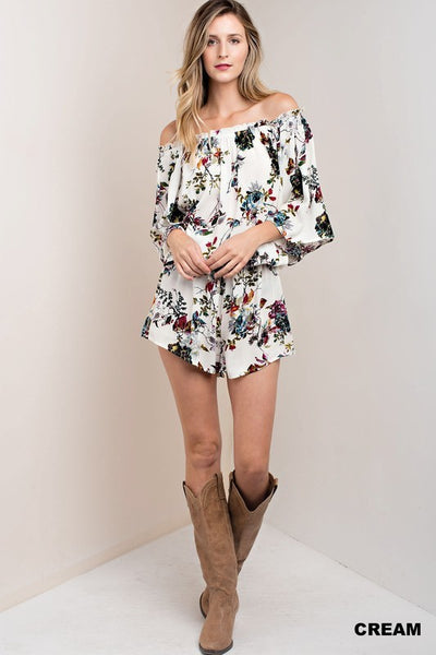 White Boho Floral Romper - Stella Clothing Boutique