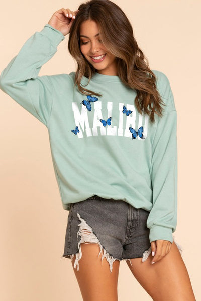 Take Me To Malibu Sweatshirt - Sage