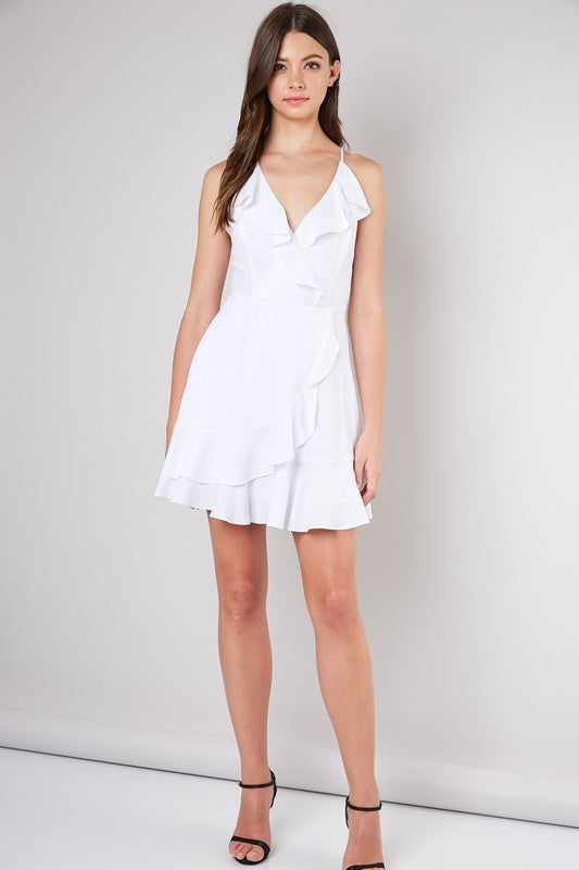 White Spaghetti Strap Ruffle Dress - Stella Clothing Boutique