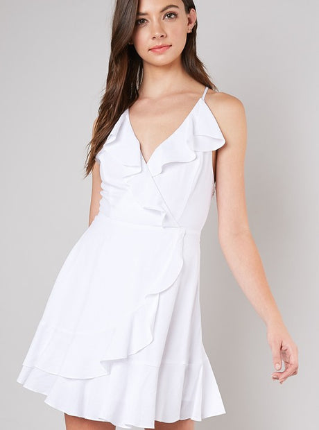 White Spaghetti Strap Ruffle Dress