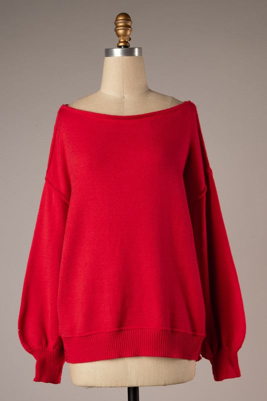 Lounging Around Sweater - Red