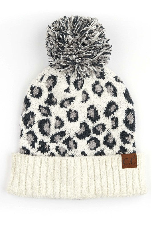 Cheetah Print Hat White - Stella Clothing Boutique