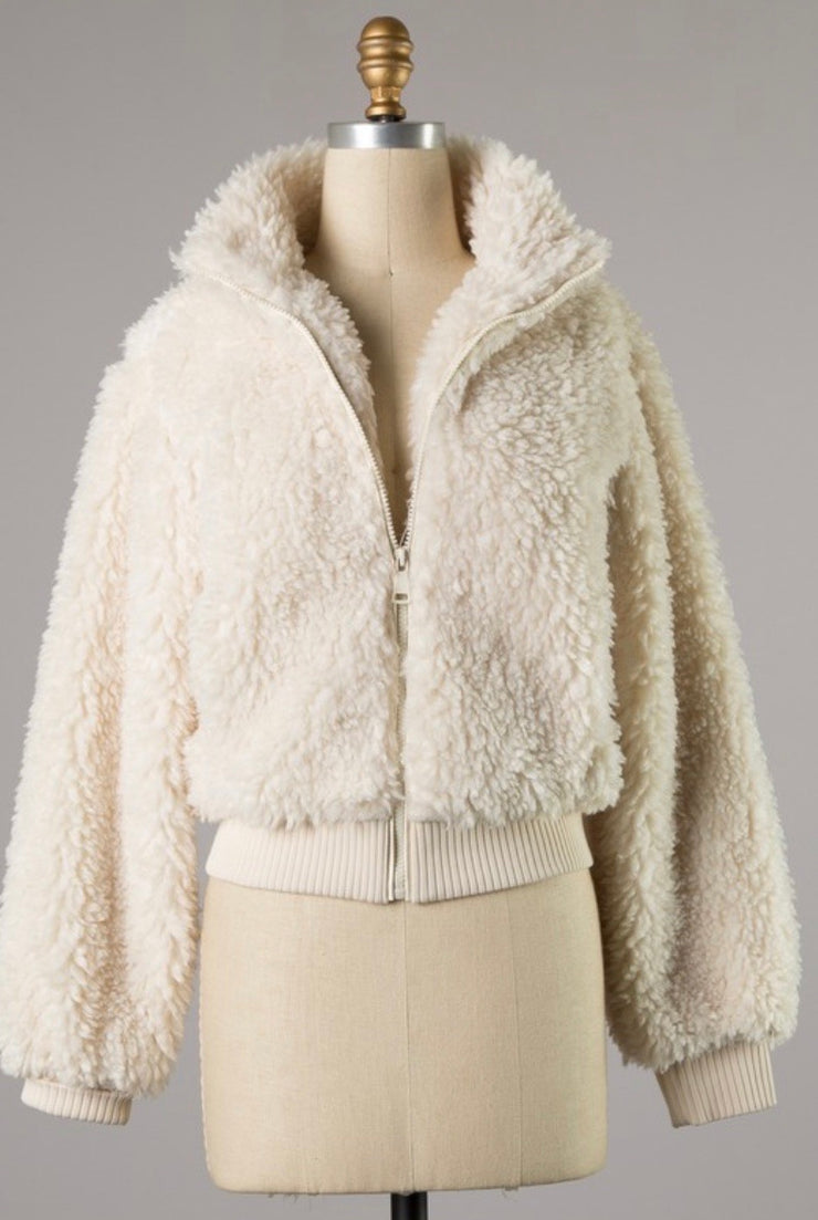 White Fluff Coat - Stella Clothing Boutique