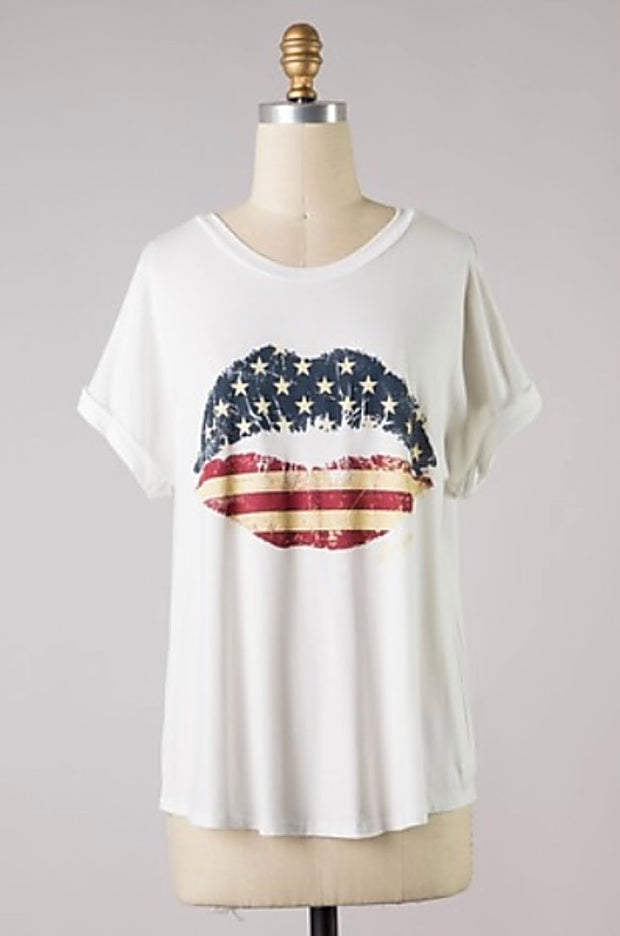 USA Flag Lips Graphic Tee