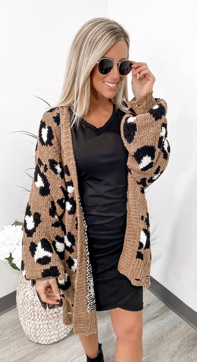 Find Me In Distress Animal Print Cardigan - Camel - Stella Clothing Boutique
