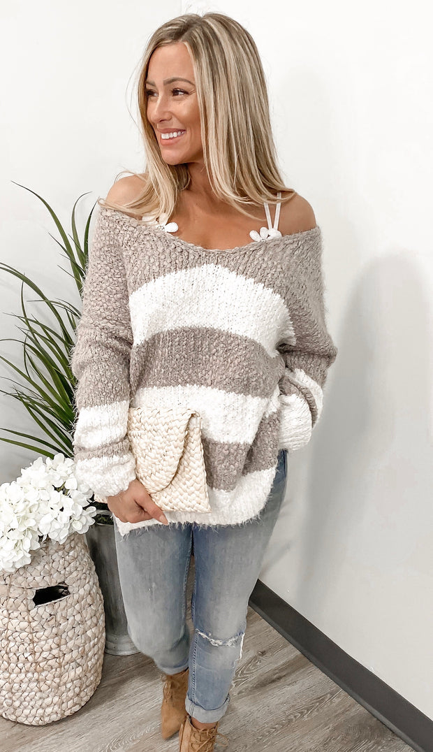 Feeling Pretty Taupe Sweater - Stella Clothing Boutique