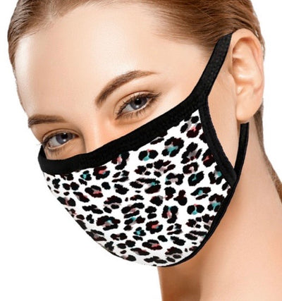 White Multi Colored Animal Print Face Mask