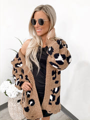 Find Me In Distress Animal Print Cardigan - Camel