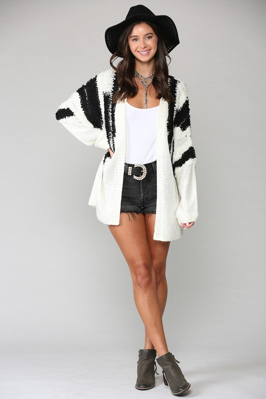 Shag Alert Cardigan - Black/White