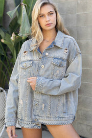 Full Of Pearls Jean Jacket