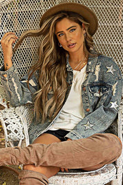 Distressed Star Denim Jacket