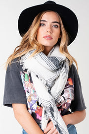 White On Black Scarf