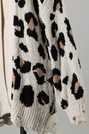 Find Me In Distress Animal Print Cardigan - Ivory - Stella Clothing Boutique