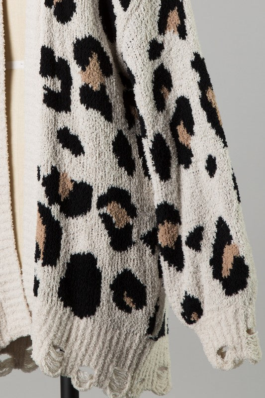 Find Me In Distress Animal Print Cardigan - Ivory