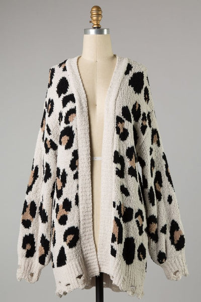 Find Me In Distress Animal Print Cardigan