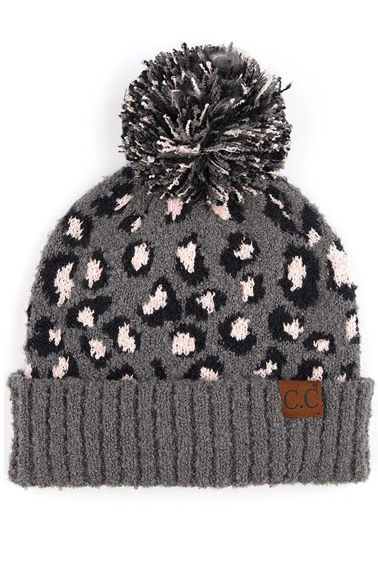 Cheetah Print Hat Gray - Stella Clothing Boutique
