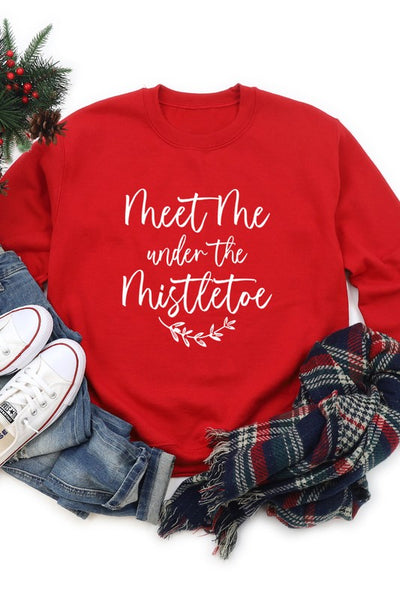 Meet Me Under The Mistletoe Sweatshirt - Red