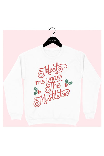 Meet Me Under The Mistletoe Sweatshirt - White