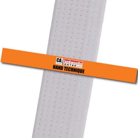 Ca. TaeKwonDo Center - Hand Technique - Orange Custom Belt Stripes - BeltStripes.com : The #1 Source for Martial Arts Belt Tape