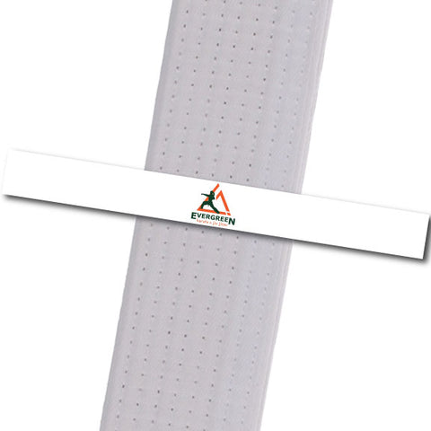 Evergreen Karate - White with Logo Custom Belt Stripes - BeltStripes.com : The #1 Source for Martial Arts Belt Tape