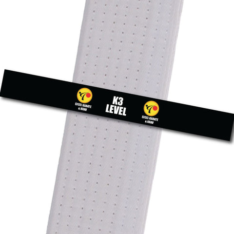 Excel Karate & Krav - K3 Level Custom Belt Stripes - BeltStripes.com : The #1 Source for Martial Arts Belt Tape