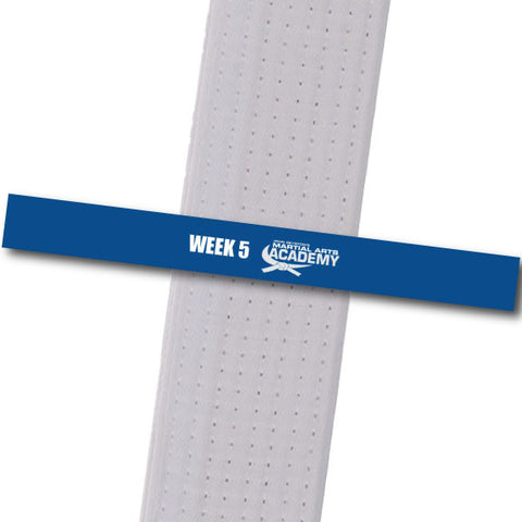John Geyston MA - Week 5-Blue Achievement Stripes - BeltStripes.com : The #1 Source for Martial Arts Belt Tape