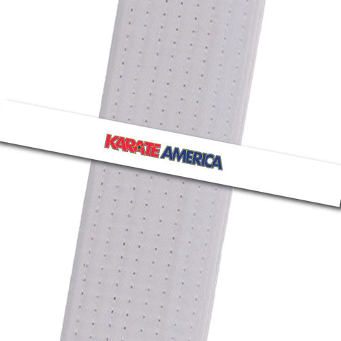 Karate America- Daniel Gimenez - White with Logo Karate America - Daniel Gimenez - BeltStripes.com : The #1 Source for Martial Arts Belt Tape