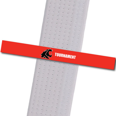 KuGar TKD - Tournament - Red with Black Logo Achievement Stripes - BeltStripes.com : The #1 Source for Martial Arts Belt Tape
