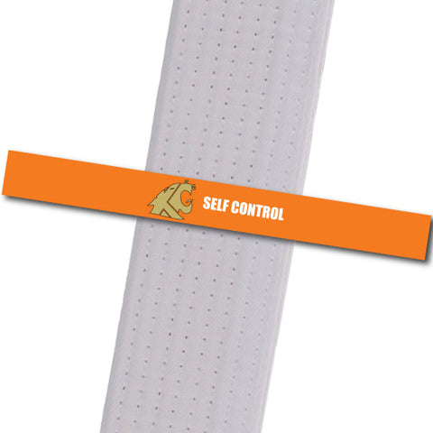 KuGar TKD - Self Control - Gold Logo Achievement Stripes - BeltStripes.com : The #1 Source for Martial Arts Belt Tape