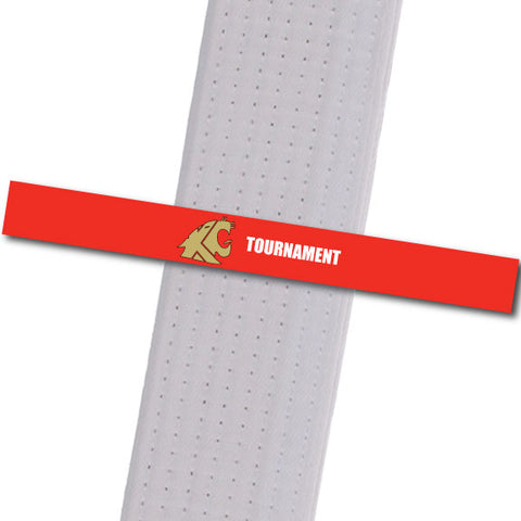 KuGar TKD - Tournament - Red with Gold Logo Achievement Stripes - BeltStripes.com : The #1 Source for Martial Arts Belt Tape