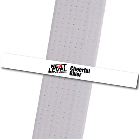 Next Level MA - Cheerful Giver Achievement Stripes - BeltStripes.com : The #1 Source for Martial Arts Belt Tape