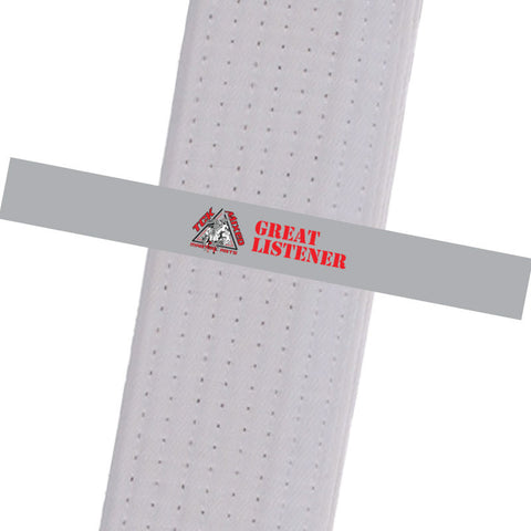 TCK Mixed Martial Arts - GREAT LISTENER Custom Belt Stripes - BeltStripes.com : The #1 Source for Martial Arts Belt Tape